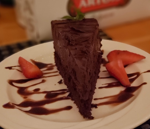 A plate with chocolate mousse cake