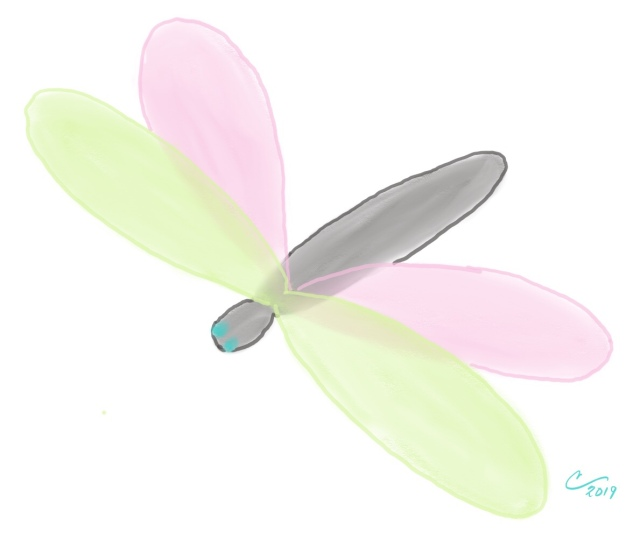 Cartoon sketch of a dragonfly