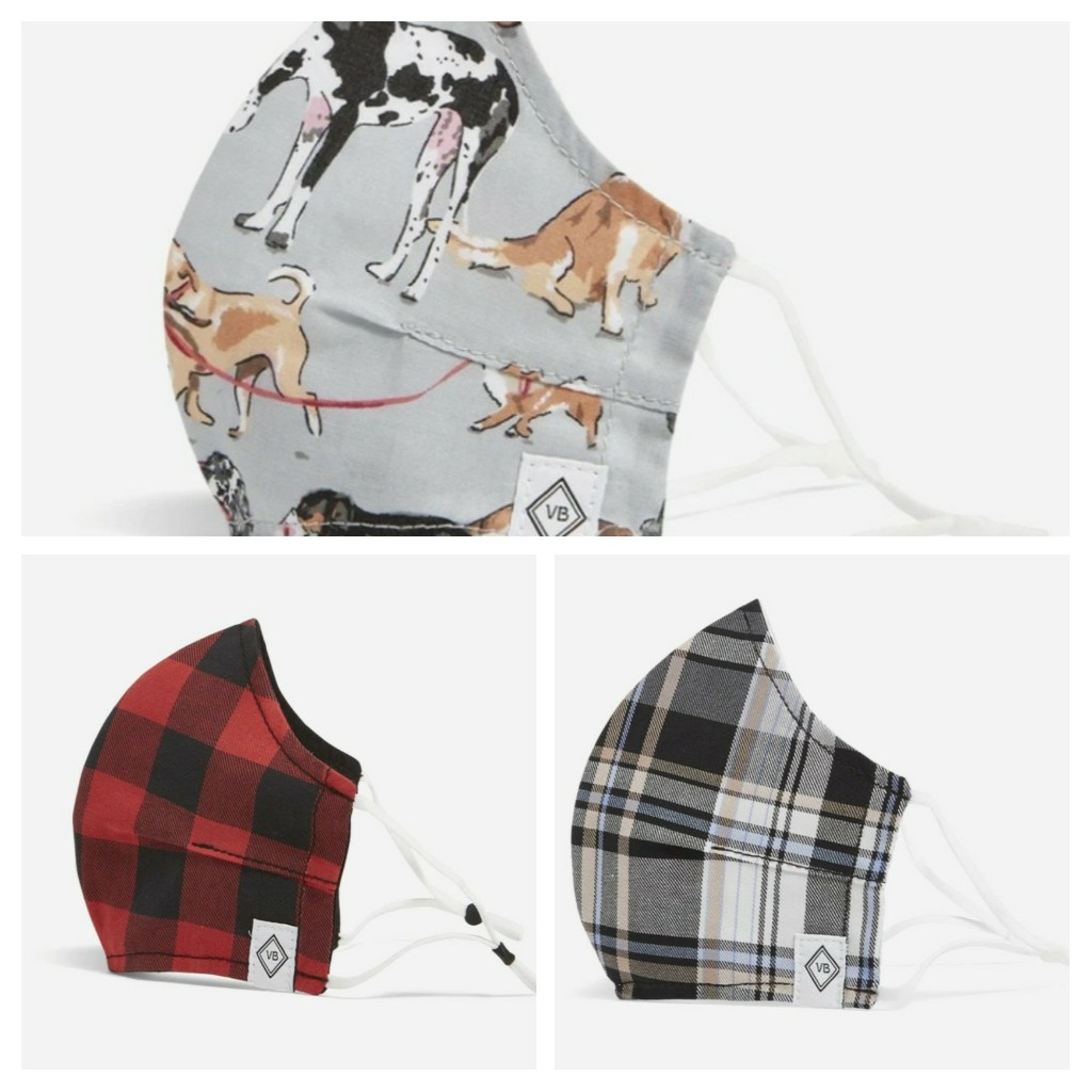 Screenshot of three masks, one red buffalo plaid, one black and beige plaid, and one with dog illustrations all over