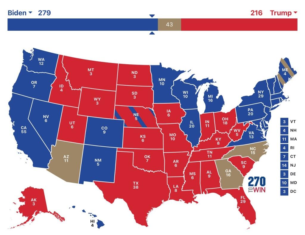 Electoral map showing Joe Biden with 279 Electoral College votes