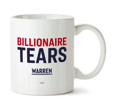 White coffee mug that says Billionaire Tears on it