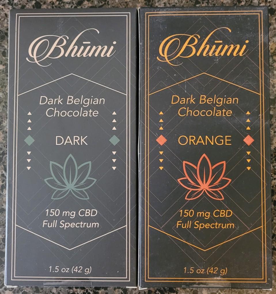 Two bars of Bhumi Belgian Chocolate with CBD.