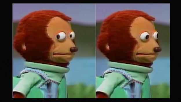 Side eye monkey puppet meme