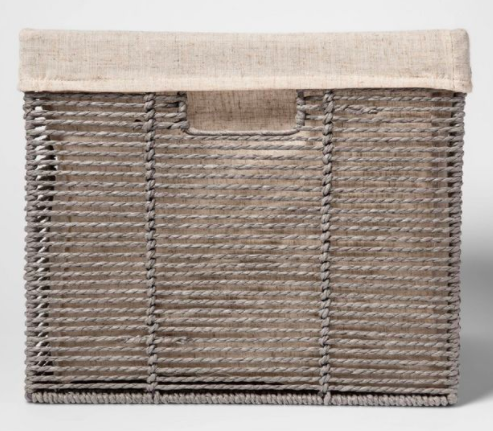 Cloth lined square wicker basket