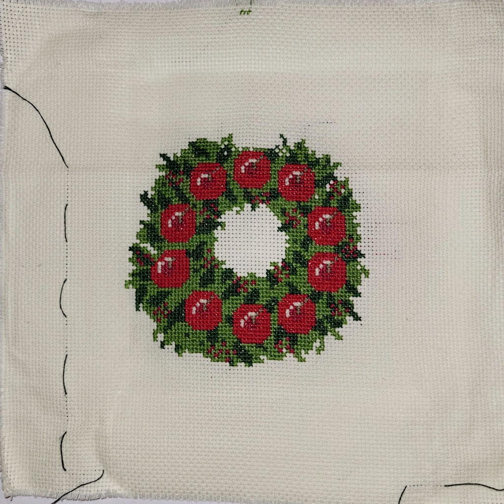 Work in Progress - Christmas Wreath cross stitch, roughly 95% done!