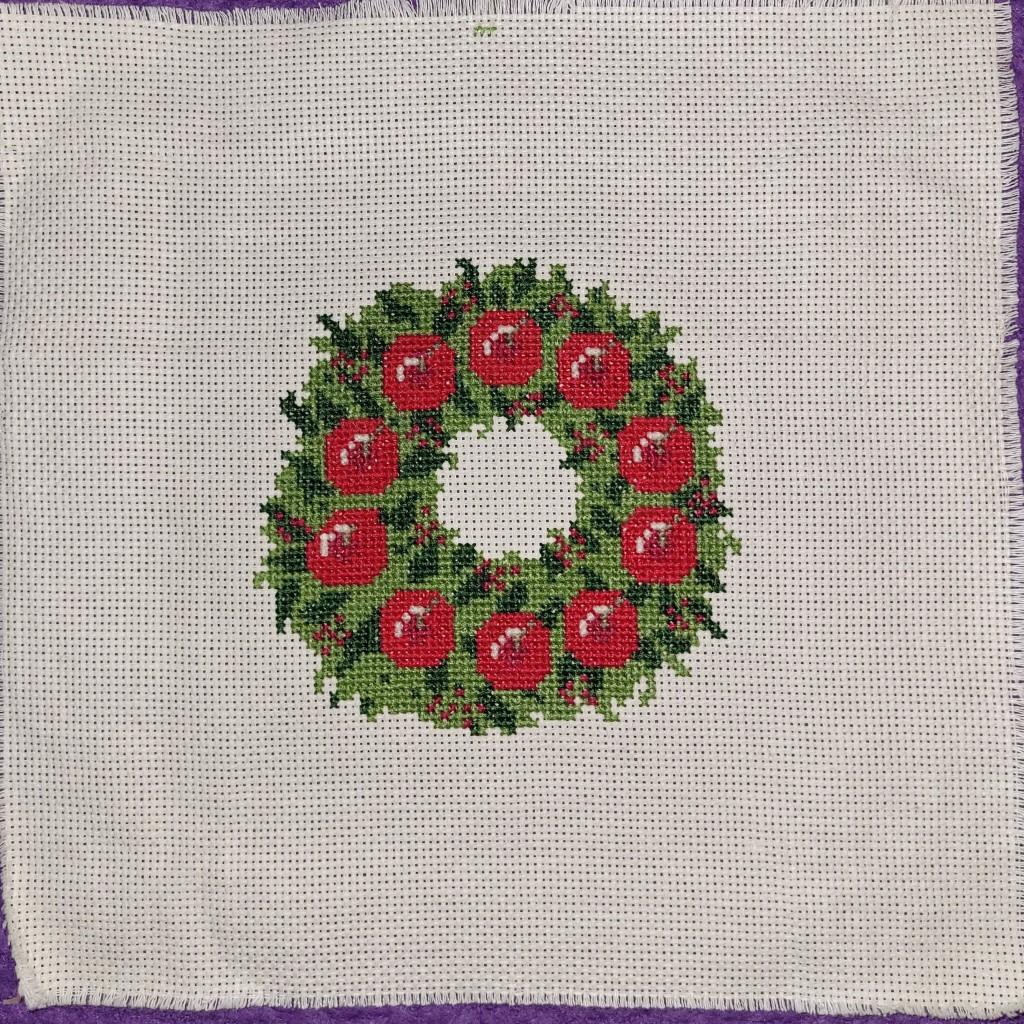 Finished Christmas Wreath Cross Stitch